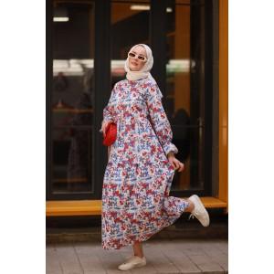Çiçek Desen Elbise-3